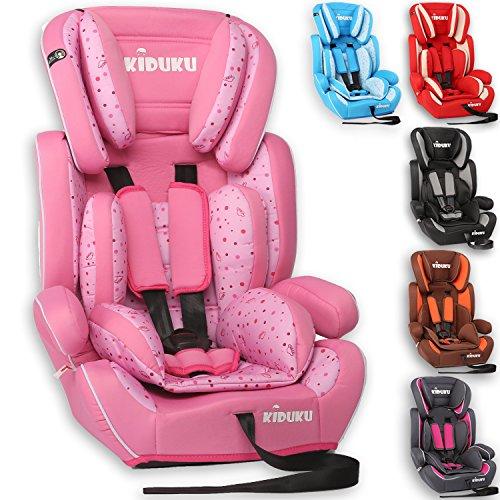 KIDUKU Autokindersitz Kindersitz Kinderautositz, Sitzschale, universal, zugelassen nach ECE R44/04, in 6 verschiedenen Farben, 9 kg - 36 kg 1 - 12 Jahre, Gruppe 1 / 2 / 3 (Rosa/Pink)