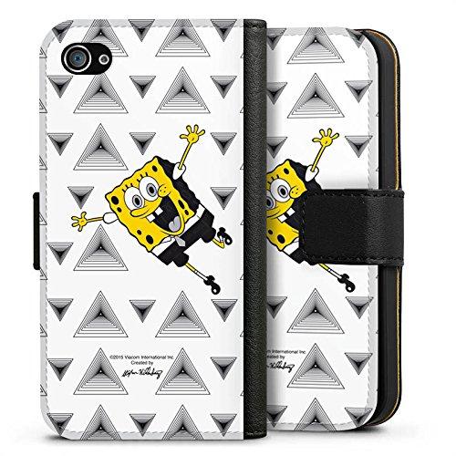 Apple iPhone X Silikon Hülle Case Schutzhülle Spongebob Fanartikel Merchandise Triangle Mono Sideflip Tasche schwarz