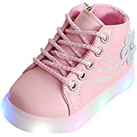 Zerototens Led Light Up Shoes for Kids Boys Girls Children's Fashion Luminous Sneakers Floral Crystal Lace Up Pu Leather…