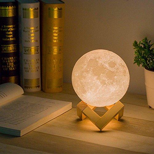Afinibot ✅ 14,99 Todo el Tamaño, el Mismo Precio (9cm/12cm/15cm) Night Light 3D Printing Moon Lamp USB Carga de luz Nocturna (3,50 Pulgadas, Control Táctil de 2 Colores)