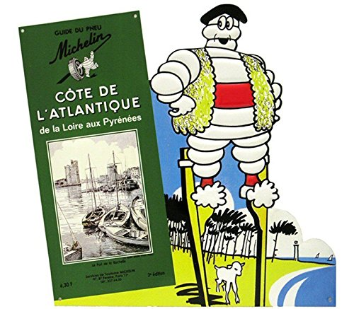 PLAQUE METAL 38X36cm GUIDE MICHELIN COTE ATLANTIQUE BIBENDUM PNEU MICHELIN