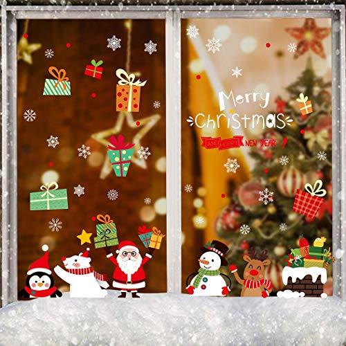 Umipubo natale vetrofanie adesivi buon natale regalo babbo pupazzo di neve alce orso fiocco di neve pvc rimovibile adesivo finestra festa decorazione vetrina fai da te vetrina stickers da vetro