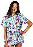 King Kameha Funky Hawaiihemd Hawaiibluse, Kurzarm, Flamingos, grün, XS