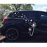 Auto Aufkleber / Seitendekor Set***Pusteblume / Löwenzahn mit Samen und Schmetterlingen*** - (Größen und Farbauswahl)