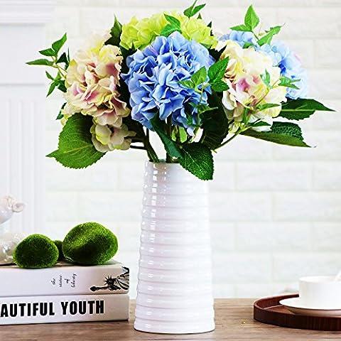 THANLY Classic Elegant Ripple Ceramic Cylinder Vase White Glazed Ceramic