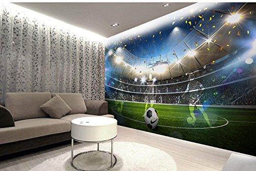 Wh-Porp 3DSport Feld Wall Decor 3D Fußball Tapete Für Wände 3D Wandaufkleber Tapeten 3D Wallcoverings-400Cmx280Cm