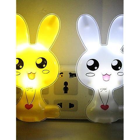 ChristinaC (color al azar) un conjunto de dos conejos lindos control de luz inteligente llevó la noche la lámpara de la noche la luz de regalo de , white