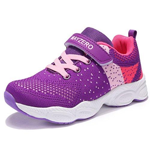 Mayzero bambina scarpe da ginnastica ragazzo ragazza scarpe unisex kids scarpe da corsa leggera in mesh atletico leggero per ragazzi ragazze sneaker (32 eu, viola#1)
