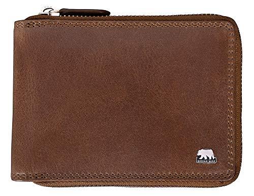 0dba2152d7e59 Brown Bear Geldbörse Leder Braun Tobacco Reißverschluss RFID Schutz  hochwertig Doppelnaht