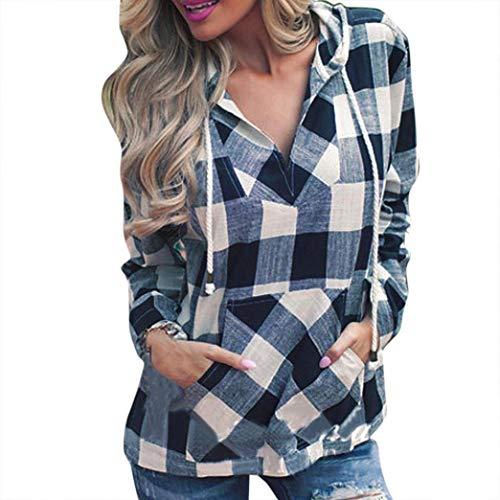 YunYoud Fashion Damen Pullover T-Plaid Hoodie Langarm Top bunte blusen damen elegante bluse blau weiß schwarz gepunktet festlich gestreift Shirt langes hemd edle festliche tunika - Plaid Pullover