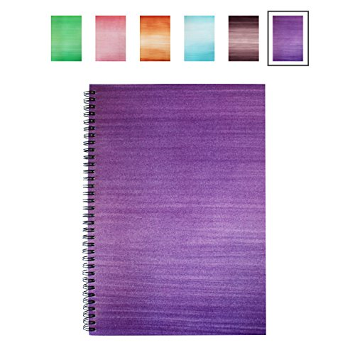 LEXY NOTES A4 Notebook - Modern Spiral Wirebound Card Backed Notepad - Punchy Purple - Single Pad
