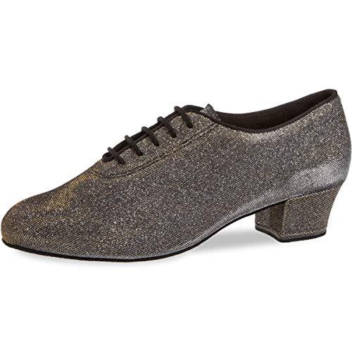 Diamant Damen Tanzschuhe/Trainerschuhe 093-034-509-A - Brokat Schwarz-Silber/Goldschimmer - 3,7 cm Cuban [UK 4]