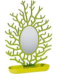 Koziol 5269105 Cora Porte-Bijoux Matière Thermoplastique + Miroir Vert Moutarde/Vert Olive Transparent 9,3 x 31,1 x 43,2 cm
