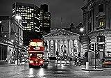 VLIESFOTOTAPETE Fototapete Tapete Wandbild Vlies | Welt-der-Träume| Rote Doppeldecker in London | VEXXXL (416cm. x 254cm.) | Photo Wallpaper Mural 10241VEXXXL-AW | Stadt Städtisch Schwarz Weiss Doppeldecker Rot