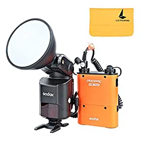 Godox AD360II-N Flash Speedlite Externe Puissant Portable TTL 1/8000s 360W GN80 avec Propac PB960 Lithium PowerPack Orange pour Appareils Photo Reflex Nikon