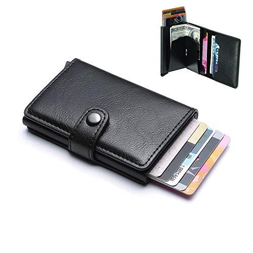 Modern RFID verhindert Leder Minimalist Herren Fronttasche Geldbörse mit Pop-Up Funktion