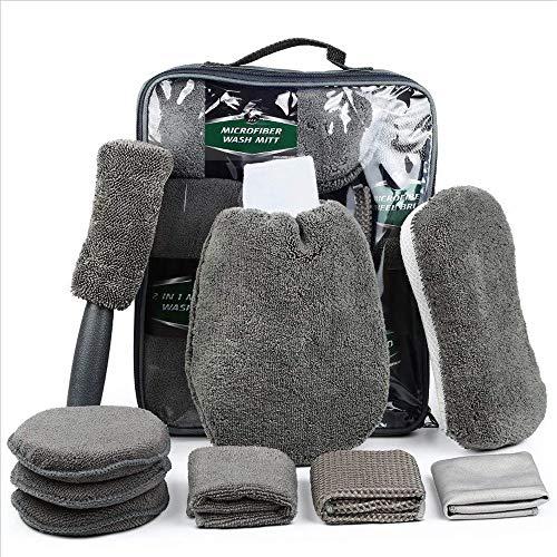 Feinstfaser Autowaschzubehör Reinigungswerkzeug Kit Mit Tasche Autowaschhandschuh Waschschwamm Mikrofaser Radbürste Wachsauftragsflächen Außen- und Innenreinigungstücher Tücher Reinigungswerkzeuge (Lkw-wasch-kit)