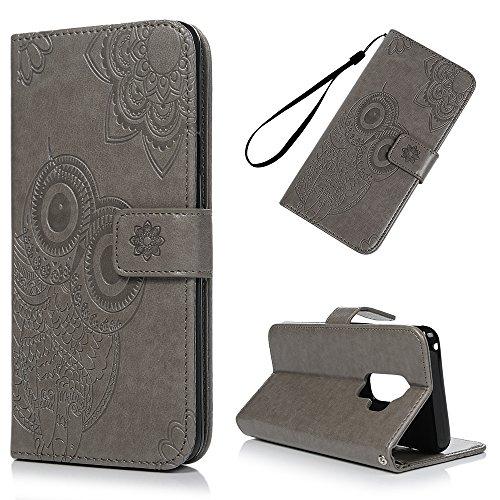 Mlorras Hülle für Samsung Galaxy S9 Plus, Geprägte Eule Schnalle vorne Leder Handyhülle Klappbares Brieftasche Schutzhülle Wallet Case Cover mit Integrierten Kartensteckplätzen Grau -