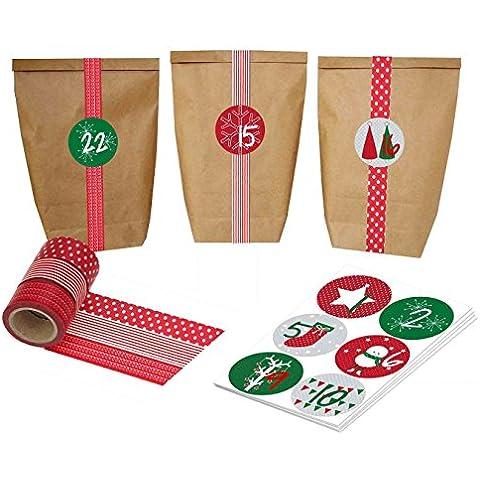Calendario dell'Avvento fai-da-te, da creare a piacere - kit completi con 24 bustine e nastro di washi rosso - No. 15