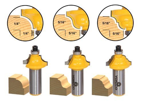 Yonico 13320 3 Bit Edging Molding Router Bit Set with Small Designer 1/2-Inch Shank by Precision Bits.com - Molding Router Bit Set