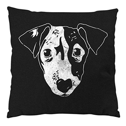 style3 Jack Russell terrier Cuscino con imbottitura e fodera in cotone, circa 28 x 28 cm , Colore:Nero