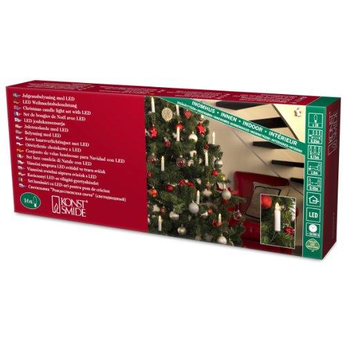 Konstsmide 2000-010 - Guirnalda led para árbol de Navidad (velas de luz, 16 diodos de blanco cálido, 230 V, para interiores)