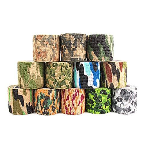 Kohäsive Bandage, 12 Rollen elastische Klebebinde Camouflage Klebeband für Jagd Camouflage Reiten Fahrrad Aufkleber -