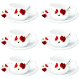 Larah by Borosil Red Carnation (LH) Cup and Saucer Set, 140ml, 12-Pieces, White, HT12CS14RCA1, HT12CS14RCA1