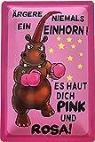 Deko7 Blechschild 30 x 20 cm Comic: Ärgere Niemals EIN Einhorn! Es Haut Dich Pink und Rosa