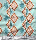 Soimoi Grun Baumwolle Ente Stoff Streifen & Diamant