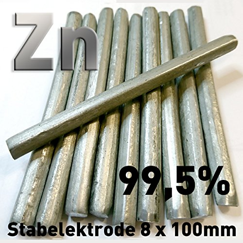 Zink-Stab-Anode / Elektrode (10 cm x 8 mm) für Zinkelektrolyt / Galvanik Stiftanode Zn 99,5 Opferanode 100mm