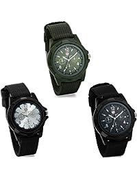 JewelryWe 3 piezas de Mens ejército Militar Estilo Piloto Aviador deportes al aire libre relojes Dial