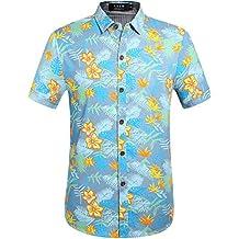 SSLR Camisa Vaquera Hombre Manga Corta Hawaiana Algodón para Verano