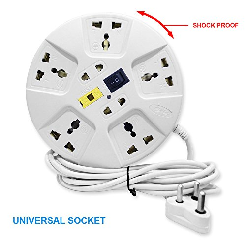Elove Extension Board ,6 Amp Multi Plug Point Extension Cord (3 Meter) With Led Indicator And Universal Socket – White