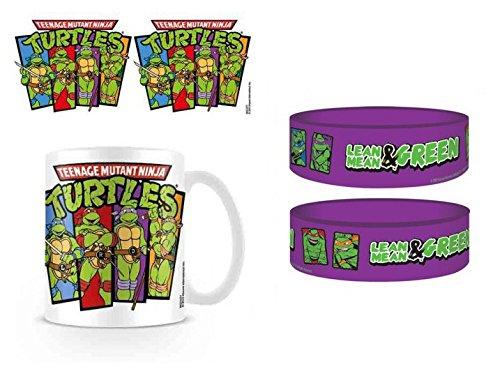 1art1 Set: Teenage Mutant Ninja Turtles, Group, Retro Foto-Tasse Kaffeetasse (9x8 cm) Inklusive 1 Teenage Mutant Ninja Turtles Armband (6x2 cm)