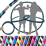 Pro KIDS HULA HOOP Reifen für Kleine Erwachsene und Kinder (10 Farben Ultra-Grip/Glitter Deco) Faltbarer TRAVEL Hula Hoop ideal für Hoop Dance! - Größe 85cm, Gewicht 420g (Schwarz / Blau Glitter)