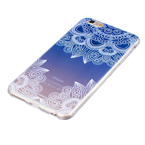 Cover iPhone 6 Plus in Silicone, LuckyW TPU Silicone Custodia per Apple iPhone 6/6S Plus(5.5 pollice) Colorful Pattern Design Transparente Gomma Gel Clear Limpido Bumper Case Cover Ultra Sottile Ultra Fiore Blu