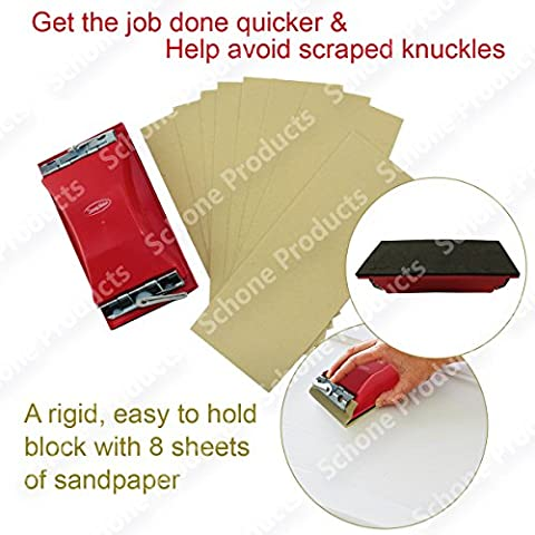Abrasive Sanding Blocks With 8 Sandpaper- For DIY Wall Treatments, Sanding Smoothing Coarse, Wooden