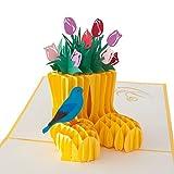"""3D Pop Up Karte """"Stiefel mit Blumen und Vogel"""", Karte zu Ostern, lustige Geschenke für Frauen, für Manner, für Kinder, kreative Geburtstagskarte, kleines Geburtstagsgeschenk"""