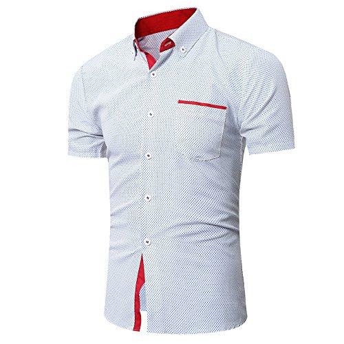 Beikoard Camicia Casual a Pois da Uomo Felpa Uomo con Cappuccio Miscela di Cotone(Bianco,XL)