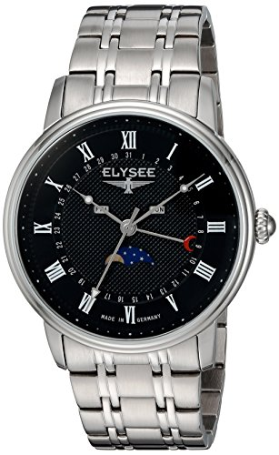 ELYSEE Made in Germany Monumentum Moon 77003L 41mm Stainless Steel Case Black Calfskin Synthetic Sapphire Men's Watch