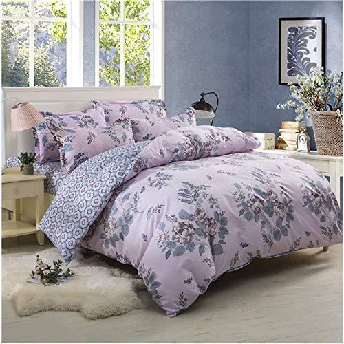 SHJIA Bettwäsche Set Baumwolle Mode Einfachen Stil Gestreiften Gitter Bettbezug Sets Bettwäsche Flachbettlaken Heimtextilien Lila 150x200cm
