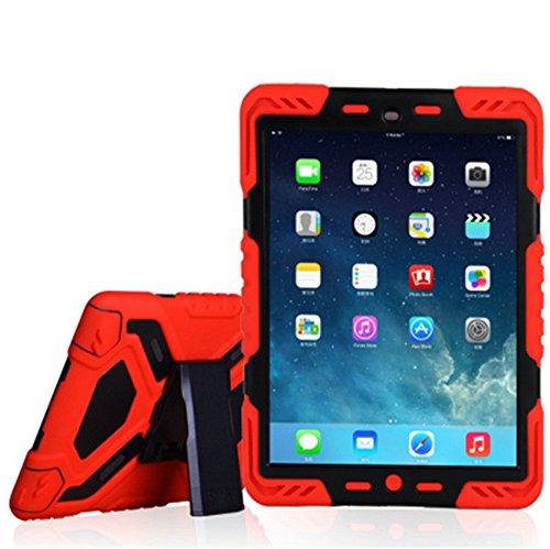 iPad Pro 9,7Schutzhülle, bpowe Pepkoo Series Heavy Duty Silikon Case Schutzhülle Kunststoff Dual Layer stoßfest Drop Proof Staubdicht Kinder stoßfest mit Ständer für iPad Pro 24,6cm rot / schwarz