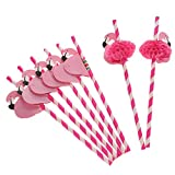 SevenMye Pack of 12 Flamingo Honeycomb Straws for Hawaiian Luau/Birthday/Weddings/Pool Cocktail Party Supplies Tropical Drinks Decorations,ROSE