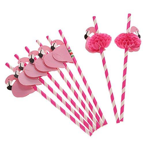 SevenMye 12Stück Flamingo-Trinkhalme mit Waben für hawaiische Party/Geburtstag/Hochzeiten/Pool, Cocktailparty-Zubehör, Dekorationen für tropische Getränke, rose, 60 pieces