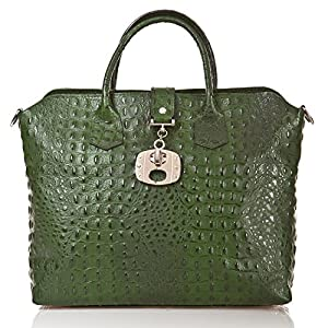 italienische Damen Handtasche Dallas aus echtem Leder in smaragd grün, Made in Italy, Shopper Bag 39x30 cm
