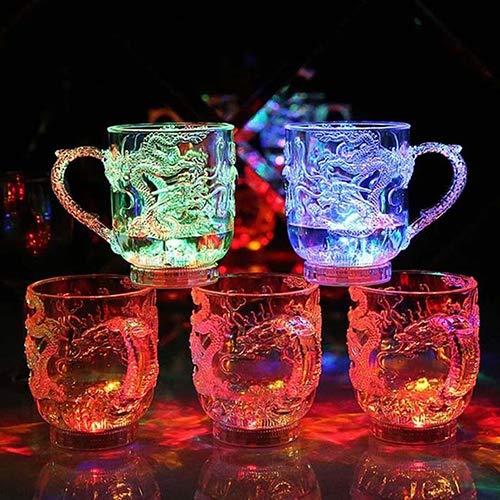 Gemini_mall LED Glas beleuchtet Glas LED Flüssigkeit aktiviert Dragon Bier Whisky Glas Tasse Becher für Weihnachten, Party, Nachtclubbing, Geburtstag, Disco multi