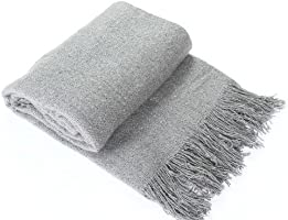 Enjoy Home P009GRC130160 Châle Plaid Mohair Gris Clair 130 x 160