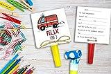 Feuerwehr - Einladung Kindergeburtstag inkl. Party Tröte