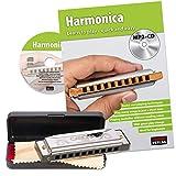 CASCHA Harmonica set débutant avec livre en anglais, apprenez à jouer de l\'harmonica blues, y compris étui, tissu et manuel, harmonica en do majeur